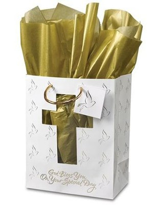 """Medium """"God Bless You on Your Special Day"""" Gift Bag.  Gift Bag dimensions: 9.75"""" x 7.75"""" x 4.75"""";Unique cross cut-out design on our elegant gift bag is complete with metallic gold tissue and dove gift tag; allover dove design; God bless you on your special day. Ideal for Confirmation gifts, First Communion Gifts, or any other Christian gift giving occasion. Suitable for software, frame, clock, tee shirt, Bible, journal, books, or an assortment of smaller gifts."""