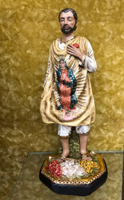 "Juan Diego/Our Lady of Guadalupe Statue by Liscano.  This statue of Juan Diego is made in Colombia, South America. The statue of Juan Diego has been beautifully hand painted by the Widows of Colombian Violence.It's measurements are  9""H  x 3"" round diameter base."