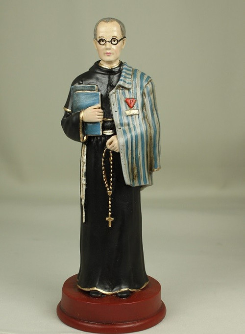 """Beautiful plaster statue of St. Maximilian Kolbe handcrafted by artists in Columbia using goldleaf and utilizing Italian techniques to finish the piece. Maimilian Kolbe Statue stands 8.5""""H.  This work of art that comes from South America has been meticulously painted by hand by a group of widows that have lost their husbands due to the violence occuring in Columbia.    """"That night I asked the Mother of God what was to become of me. Then she came to me holding two crowns, one white, the other red. She asked me if I was willing to accept either of these crowns. The white one meant that I should persevere in purity, and the red that I should become a martyr. I said that I would accept them both.""""  - St. Maximilian Kolbe"""