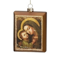 """Oil Painting Look Mary and Jesus Hanging Ornament.  Meaurements are 4.25""""H 1.25""""W 3""""L."""