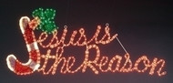 """Jesus is the Reason Yard Art.  Jesus is the Reason Yard Art is made with  Red and Green holographic lights. Jesus is the Reason Yard Art stands 20""""H and is 48""""W."""