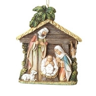 """4"""" Holy Family in Stable Hanging Ornament.  Meaurements are 4""""H 3.375""""W 0.5""""D. Holy Family Ornament is made of a resin/stone mix."""
