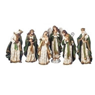"This 6 piece Nativity is made of Olive and Gold tones. The pieces measure 13.5""H. The 6 piece 13.5""H nativity pieces are made of a polyresin material."