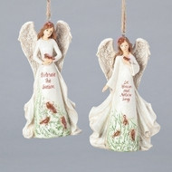 "5"" Angel with Cardinals on Dress Hanging Ornament. One Angel's dress has ""Celebrate the Season"" on it, while the other dress says "" Let Heaven and Nature Sing"". Make selection in the options box.  Meaurements are 5.12""H x 1.97""W x 2.56""L. Angels holding Cardinals Ornament is made of a resin."