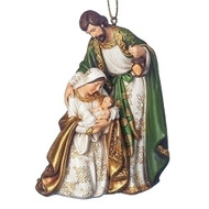 """4"""" Holy Family Hanging Ornament.  Holy Family ornament comes in beautiful green, ivory and gold hues. Meaurements are 4""""H 2.75""""W 1.75""""D. Holy Family Ornament is made of a resin/stone mix."""