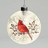 "5""H Glass Flat Round Cardinal Ornament. Measurements are 5.63""H 4.75""W 1.75""D.   Cardinal Ornament is made of glass and decal."