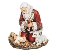 "5""H Kneeling Santa Holding Hat. Kneeling Santa Holding his Hat Figure's measurements are 5""H 4.88""W 3.75""D. Kneeling Santa holding his hat is made of a resin stone mix"