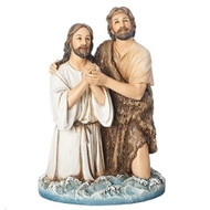 "The Baptism of Jesus. The Baptism of Jesus 8.25""H figure shows Jesus kneeling with John the Baptist. The Baptism of Jesus figure is made of a resin/stone mix."