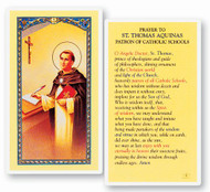 "Prayer to Saint Thomas Aquinas. Patron of Catholic Schools. Clear, laminated Italian holy cards with gold accents or choose the paper 2""x4"" Gold Embossed Italian Holy Card. Both feature the world famous Fratelli-Bonella Artwork"