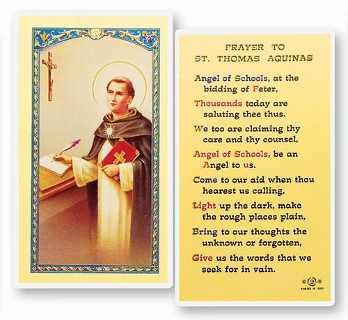"""Prayer to Saint Thomas Aquinas. Patron of Catholic Schools. Clear, laminated Italian holy cards with gold accents or choose the paper 2""""x4"""" Gold Embossed Italian Holy Card. Both feature the world famous Fratelli-Bonella Artwork"""