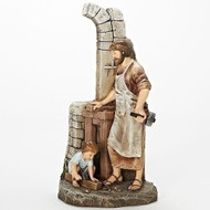 """The Carpenter's Apprentice. This 12.75 Figure of the Carpenters Apprentice is made of a resin/stone mix. The Carpenter's Apprentice Figure measurements are: 12.75""""H X 6.5""""W"""