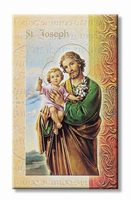 St Joseph Pamphlet. This pamphlet is a 2 page biography of St Joseph.  His name meaning, His patron attributes, Prayers to St Joseph and his Feast Day are all included in the pamphlet. Gold stamped Italian art.