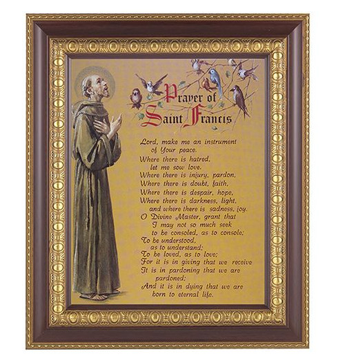 """The Prayer of St Francis comes in a beautifully detailed cherry and gold edge frame in glass. Measures 11""""x  13.5"""""""