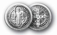 "Antique Silver 1.125"" St. Benedict Pocket Token"
