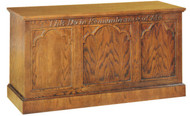 "Communion table with open back, two shelves, and sliding door with lock. Dimensions: 32"" height, 60"" width, 24"" depth"