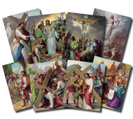 The Stations of the Cross 4''x 6'' Posters.  Vincentini's immortal works of art vividly depict Christ's Passion. Lithography in 7 colors in 14 pictures to a set