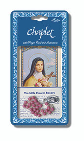 "St. Theresa Chaplet.  The St. Theresa Chaplet is made purple/rose. The St. Theresa Chaplet comes packaged with a laminated holy card & instruction pamphlet. (Overall 6.5"" x 3.5"")"
