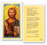"""St. Ephrem became known as the """"Harp of the Holy Spirit,"""" for the hymns and writings that sang the praises of God """"in an unparalleled way"""" and """"with rare skill."""" Clear, laminated Italian holy cards with gold accents. Features World Famous Fratelli-Bonella Artwork. 2.5'' X 4.5''"""