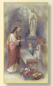 "These First Communion cards can be personalized with your child's name, the date of the communion, and the place of the communion. You can get these First Communion cards laminated for an additional cost.  Each card is 2.5"" x 4.25"" Minimum of 24 cards.  Allow 5-7 days for delivery. Non-returnable"