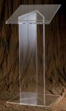 "Lectern with 3/4"" Wood or 1/2"" Acrylic top. Dimensions: 48"" height, 24"" width, 20"" depth. Base: 1/2"" acrylic. Pedestal: 1/2"" acrylic"