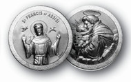 "1.125"" Saint Francis/Saint Anthony Pocket Coin with Antique Silver Finish"