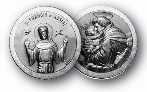 """1.125"""" Saint Francis/Saint Anthony Pocket Coin with Antique Silver Finish"""