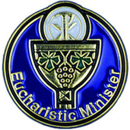 "The Eucharistic Minister Lapel Pin is 1"" round. The lapel pin is gold plated with enameled colors . Eucharistic Minister pin has a clutch back. Eucharistic Minister Lapel Pin comes poly bagged"