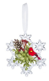 "4.5""H Cardinal Snowflake Ornament. Cardinal on the snowflake ornament sits on a sprig of greens with red berries and a pine cone. Ornament has white hanger."