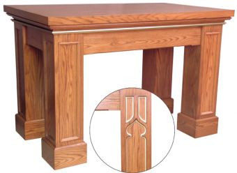 "Altar with rectangular gothic trim legs and layered top Dimensions: 40"" height, 60"" width, 36"" depth"