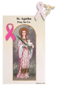 St. Agatha Breast Cancer Prayer Card with Pink Ribbon Angel Lapel Pin
