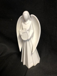 Angel Playing the Harp ~ Beautiful Porcelain angels. Each one playing a different insrument. Porcelain angels will make  a beautiful centerpiece with greens on a table.  Each sold separately. Stand 5 3/4:H.  While supplies last!