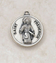 "Sterling Silver Round Patron Saint Frederick Medal Pendant.   The Sterling Silver Round Patron Saint Frederick Medal Pendant measurse 3/4"". St Frederick is the Patron Saint of the Deaf."