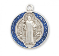 """Sterling Silver with Blue Enamel Double Sided St. Benedict Medal.  The St. Benedict Medal comes with a genuine rhodium plated 18"""" chain in a deluxe velour giftbox.  Dimensions: 0.8"""" x 0.6"""" (19mm x 16mm) Comes in a Deluxe velvet gift box. Made in the USA"""