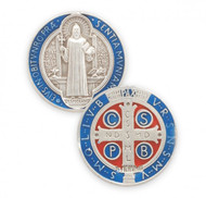 """Sterling Silver with Blue Enamel Double Sided St. Benedict Medal.  The St. Benedict Medal comes with a genuine rhodium plated 24"""" chain in a deluxe velour giftbox.  Dimensions: 1.0"""" x 0.9"""" (26mm x 22mm).  Weight of medal: 6.3 Grams.  Sterling Silver St. Benedict Medal comes in a deluxe velvet gift box. Made in the USA"""