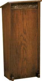 "Lectern without Wheat and Grape Carvings on front   Two inside shelves  Dimensions: 44"" height, 20"" width, 15"" depth"