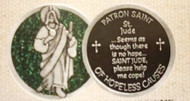 "1"" St Jude Green Enameled Pocket Token. The back of the coin says: ""St Jude ~ It seems as if there is no hope...SAINT JUDE, please help me cope.   Patron saint of hopeless causes"""