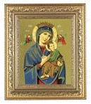 """Our Lady of Perpetual Help in a beautifully detailed ornate gold leaf antique frame. 12-1/2"""" x 14-1/2"""" Overall Dimensions.  2.5"""" Wide Facing to Fit a 8"""" x 10"""" Italian Lithograph Under Glass."""