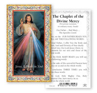 """The Chaplet of the Divine Mercy.  2""""x4"""" Gold Embossed Italian Holy Card with Prayer"""