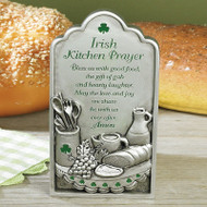 """Cast metal with baked enamel silver finish with green epoxy accents. Plaque can hang or stand. Prayer: """"Bless us with good food, the gift of gab and hearty laughter. May the love and joy we share be with us ever after. Amen.""""Measurements: 3 3/4""""W X 7""""H. Comes boxed"""