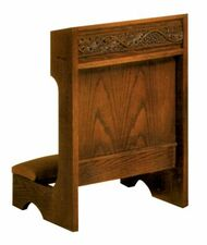 "Prie dieu with shelf. Dimensions: 32"" height, 36"" width, 19"" depth"