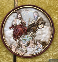 "The Holy Trinity Wall Plaque by Liscano ~   This plaque is made in Colombia, South America. The Holy Trinity Plaque has been beautifully hand painted by the Widows of Colombian Violence. It's measurements are  6""D round"