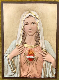 "The Immaculate Heart of Mary  Wall Plaque by Liscano ~   This plaque is made in Colombia, South America. The Immaculate Heart of Mary Plaque has been beautifully hand painted by the Widows of Colombian Violence.  It's dimensions are 7""H x 5.5""W."