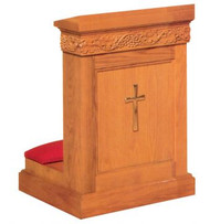 "Prie dieu with shelf. Dimensions: 34"" height, 36"" width, 23"" depth. Brass Cross available at an additional cost"