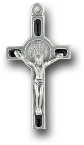 """1.5"""" Antique Silver Saint Benedict Cross in Black Epoxy.  Made in the USA"""