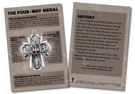 """This 4""""x6"""" card is the perfect tool to teach your parishioners, students, family, and friends about the traditional Four-Way Medal.  The front of the spiritual aids includes a picture of the symbolic medal. Around the image and on the back, the card shares information about the medal: the history, Sacred Heart Medal, St. Joseph Medal, St. Christopher Medal, and Miraculous Medal. May these cards increase one's knowledge of and devotion to God, Mary, and the saints.  Made of 100# cover paper"""