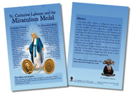 """The front of the spiritual aids includes a picture of the Blessed Virgin with stars around her head and grace pouring from her hands and of the front and back of the Miraculous Medal. Around the image and on the back, the card shares information about the """"Medal of the Immaculate Conception"""": St. Catherine Laboure's vision of Mary and Mary's directives for the medal, the symbolism of the globe and the serpent, and the history. May these cards increase one's knowledge of and devotion to Mary through the Miraculous Medal. Immaculate Conception, pray for us!.  Made of 100# cover paper"""