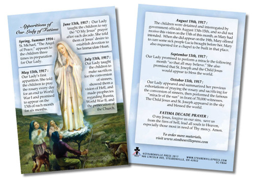 The front of the spiritual aid includes a picture of Our Lady appearing to the children of Fatima. Around the image and on the back, the card shares information about the significant dates regarding the apparitions. May these cards increase one's knowledge of this apparition and devotion to Our Lady. Our lady of Fatima, pray for us!  Made of 100# cover paper