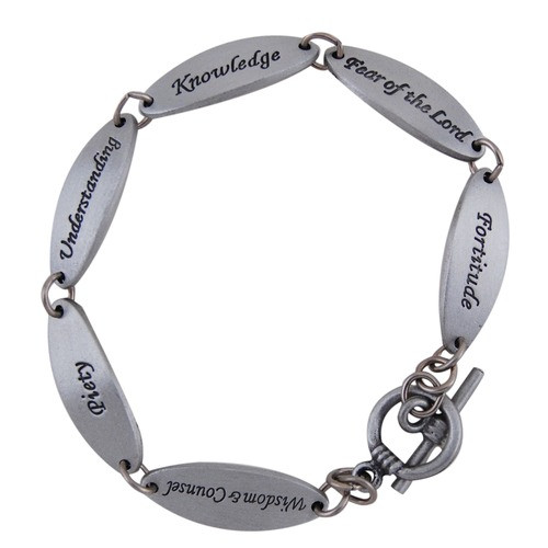 """Pewter Link Bracelet, The Seven Gifts of the Spirit - 7.5"""" Pewter ~."""