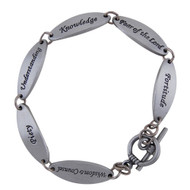 "Pewter Link Bracelet, The Seven Gifts of the Spirit - 7.5"" Pewter ~. ""Wisdom, Counsel, Fortitude, Piety, Understanding, Knowledge, Fear of the Lord"". Great for a Confirmation Gift or just to wear as a reminder that the Holy Spirit is with us always!. This bracelet features a toggle closure and is poly-bagged"