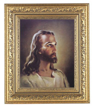 "Framed 8"" x 10"" Head of Christ. This llithograph is framed in a beautifully detailed ornate gold leaf frame.  Overall Dimensions of the framed picture are 12-1/2"" x 14-1/2"".   The lithograph of Christ's head measures 8"" x 10"". This framed Italian lithograph is under glass."